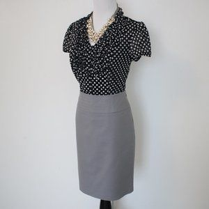 BANANA REPUBLIC Size 2 Skirt Blouse Set Gray Black